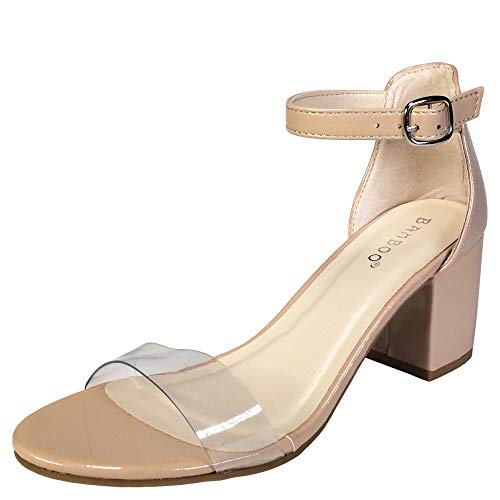 BAMBOO Women's Block Heel Sandal with Ankle Strap, Clear PVC with Nude Patent PU, 10.0 B US]()