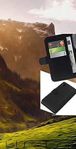 NEECELL GIFT forCITY // Billetera de cuero Caso Cubierta de protección Carcasa / Leather Wallet Case for Sony Xperia Z2 D6502 // Ilustración de la montaña