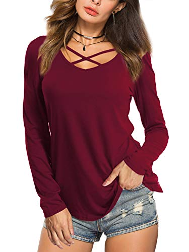 Cross Knit Top Criss - Amoretu Women's Long Sleeve Tops Criss Cross V-Neck Casual Girls Tees Shirts Burgundy S
