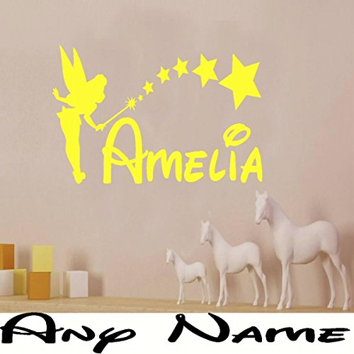 Wall Sticker, Tinkerbell, Personalised, Transfer, Any Name, - 3 sizes, Kids, Bedroom -SMALL -SIZE 30cm x 20cm -Beige