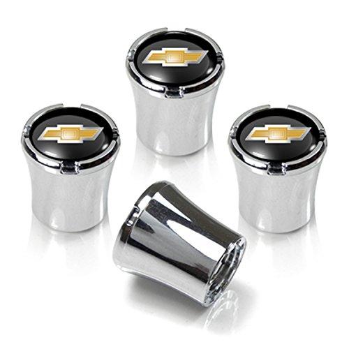 Chevrolet Chrome & Black Valve Stem Caps w/Gold Bowtie Logo - Set of 4