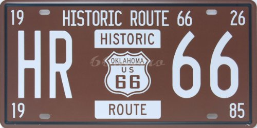Historic Route 66 HR-66, Embossed Metal Tin Sign, Wall Decorative Sign By 66reto (Route Vegas 66 Las)