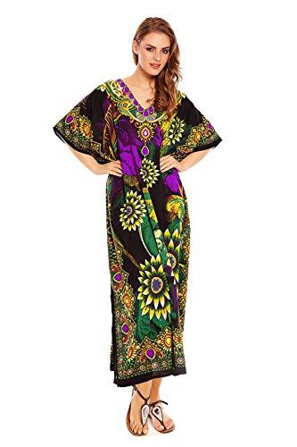Robe Tunique Glam Maxi Femmes Looking Neuf 20809 Vert Caftan Surdimensionné Kimono TiukOXZP