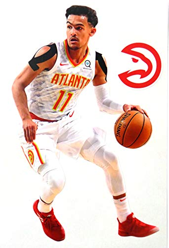 FATHEAD Trae Young Mini Graphic + Atlanta Hawks Logo Official NBA Vinyl Wall Graphics - This Graphic is 7