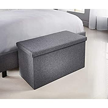 Luxury Fabric Allerton Grey Ottoman With Built In Coffee Table Spave Saving Stoarge Box