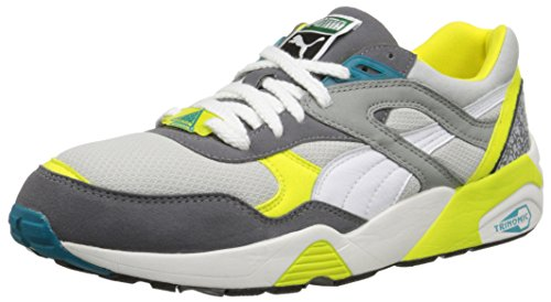 Puma Trinomic R698 cordones de la zapatilla de deporte de moda Gray Violet/Steel Gray/White/Fluorescent Yellow/Capri Breeze
