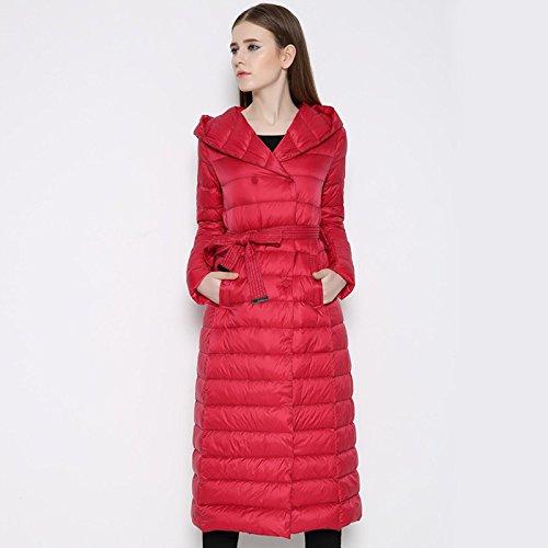 Pocket M Jacket FYM Coat Buckle Belt Warm Color COAT Hat Row Solid Red Double DYF Down qaa4FvC