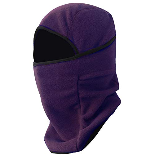WUAI Unisex Windproof Mask Cold Weather Face Mask for Skiing Snowboarding Motorcycling Neck Warmer Winter Sports Cap(Purple,One -