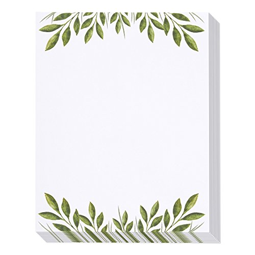 Stationery Paper - 48 Pack Leaf Themed Printer Friendly Letter Size Sheets - Letterhead Weddings, Anniversaries, Graduations - 8.5 x 11 Inches