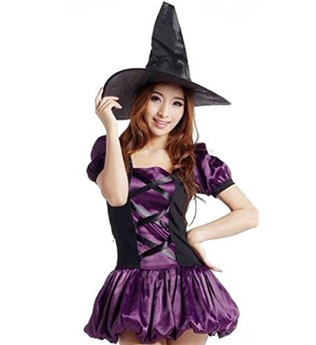 [JutaoWomen's Magical Lady Adult Halloweens Costumes Costume With Witch Hat] (Broomstick Babe Halloween Costume)