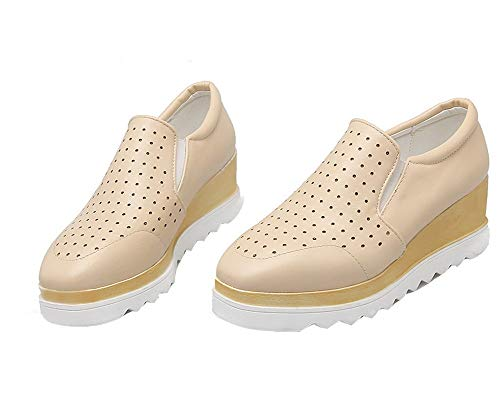 Légeres Correct Talon Matière à Chaussures TSFDH005745 Femme Beige AalarDom Mélangee 6wq0RR