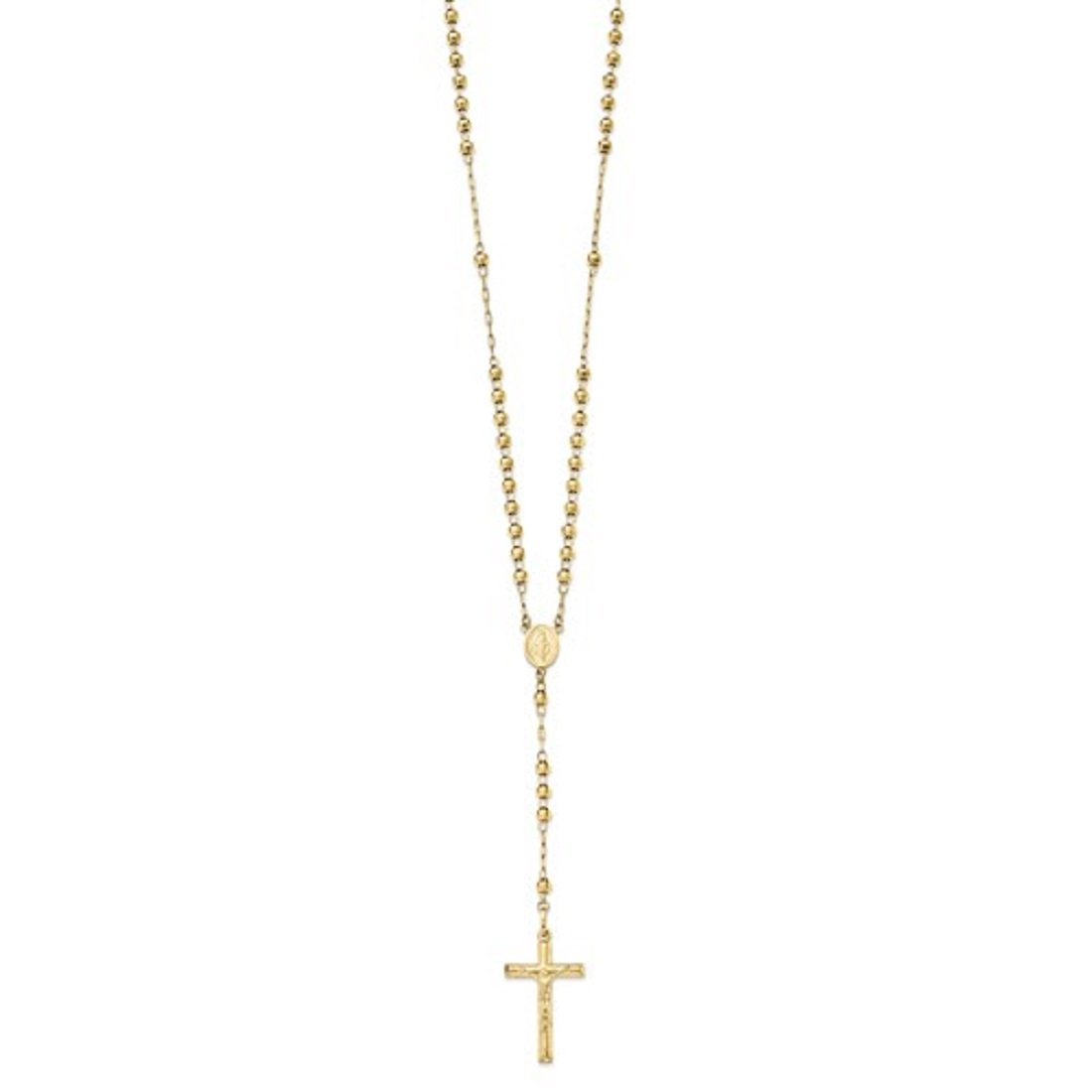 Roxx Fine Jewelry 14K Yellow Gold Ornate Miraculous Medal Rosary Necklace 4.00mm Beads 24''