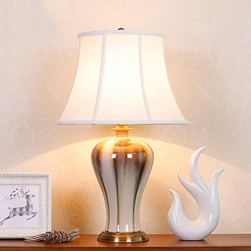 Chinese glazed ceramic table lamp, Collection light Bedroom atmosphere table lamp for home and Hotel decoration
