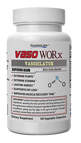 Superior Labs Vaso Worx Vasodilation 4,600mg Nitric Oxide Dietary Supplement, 180 Vegetable Capsules