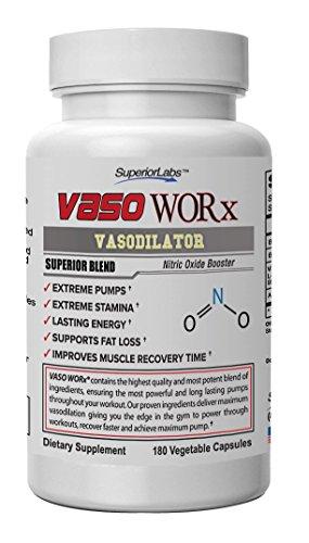 Superior Labs Vaso Worx Vasodilation 4,600mg Nitric Oxide Dietary Supplement, 180 Vegetable Capsules