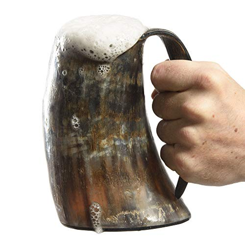 AleHorn –The Genuine Handcrafted Authentic Viking Drinking Horn XL Tankard for Beer, Mead, Ale–Medieval Inspired Game of Thrones Mug Cup Goblet –Food Safe Vessel 100% Quality Promise