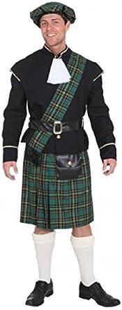 Tartan Green Kilt Mens Fancy Dress Scottish Highlander Adults Costume Accessory