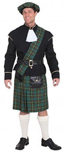 Highlander Fancy Dress Costumes - Mens Green Scottish Lord Highlander Celtic