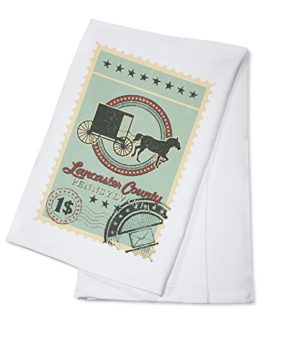 (Lancaster, Pennsylvania - Horse and Buggy Stamp (100% Cotton Kitchen Towel))
