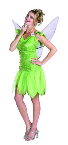 Disguise Women's Disney Fairies Tinker Bell Classic Costume, Green, Large (Tinkerbell Costume For Adults)