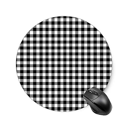 Gaming Mouse Pad Black and White Gingham Pattern Desktop and Laptop 1 Pack Round Mouse mat