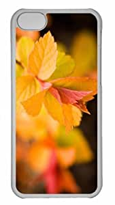 Customized iphone 5C PC Transparent Case - Yellow Leaves Close Up Personalized Cover