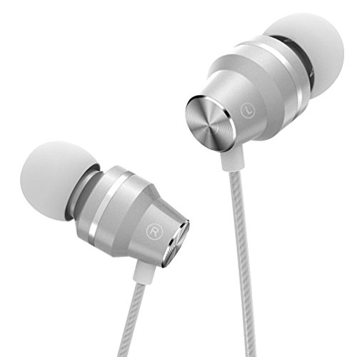 Earphones, Bass in-Ear Headphones Earbuds with Microphone and Volume Control, Compatible iPhone and Android Smartphones, (3.9 Ft/White, GI-07V)