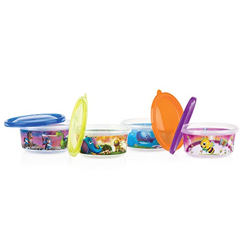 Nuby 4-Pack Stackable Printed Wash or Toss Bowls with Lids,