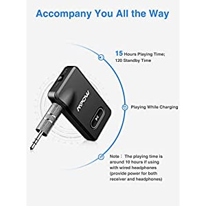 Mpow BH129 Bluetooth Receiver with CSR Chip for Better Music Quality,15 Hours Long Playing Time Bluetooth Adapter, Wireless Audio Car Kits with 1 Second Turn On/Off Button (Dual Link, Voice Assistant)