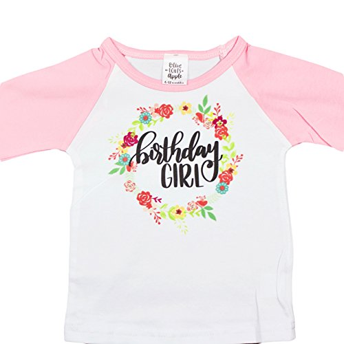 Girls Pink Raglan 3/4 Sleeve Birthday Girl Shirt 1st, 2nd, 3rd, 4th Birthday Shirt,Pink,3T (Sleeve 3/4 Birthday)