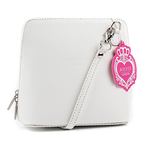 Shoulder Aossta Body Handbag Italian Bag Micro Cross Leather Genuine Bag White Small w8BwFx