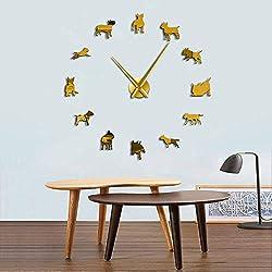 Wall Clock Bull Terrier Dog Wall Art 3D DIY Wall Clock Pet Animals Shop Size Adjustable Creative Show Dogs Breed Pug Big Needle Clock Watch