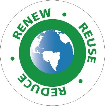 NMC HH96 2'' x 2'' PS Vinyl Hard Hat Emblem w/Legend: ''Renew Reuse Reduce'', 12 Packs of 25 pcs
