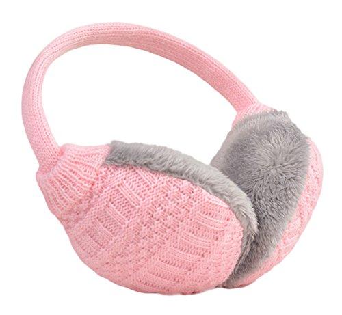 Knolee Unisex Knitting EarMuffs Faux Furry Earwarmer Winter Outdoor - Pink Earmuffs