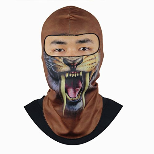 BXT 3D Digital Animal Printing Outdoor Sports Windproof Anti-dust Sun Protection Bike Cycling Motorcycle Ski Neck Snood Warmer Hood Hat Veil Thin Breathable Full Face Mask Helmet Headgear Balaclava