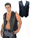 USA Leather 201 Classic Style Black Leather Vest with Snap Button Closure - Large