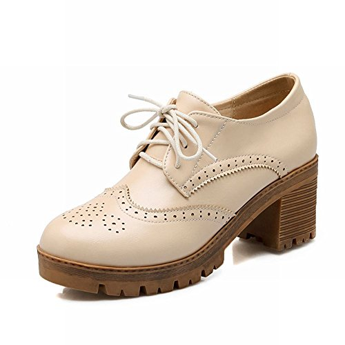 Latasa Kvinner Mote Blonder-up Plattform Chunky Mid-heel Oxfords Sko Beige