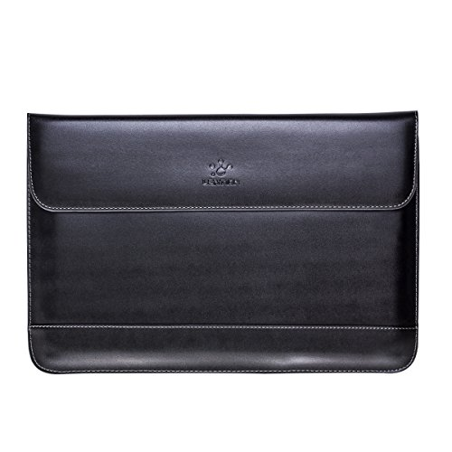 LENTION Split Leather Sleeve Case for MacBook Air 11/MacBook 12/Surface Pro/Samsung/HP/Asus/Acer 11-12 inch Laptops & Tablets, Premium Carrying Bag with Magnetic Snaps (Black)