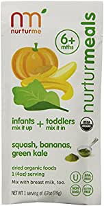 Nurturme Organic Baby Food Pouches, Squash, Bananas, Green Kale, 0.67-Ounce Pouch (Pack of 48)