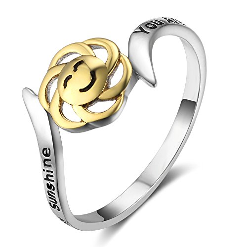 (Kalapure 18K Gold 925 Sterling Silver Sunflower Ring You are My Sunshine, My Only Sunshine'' (6))