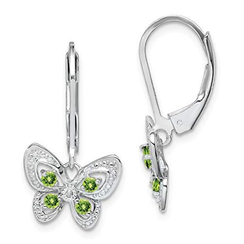 Diamond Pearl Chandelier Earrings - 925 Sterling Silver Green Peridot Diamond Leverback Earrings Lever Back Drop Dangle Animal Butterfly Fine Jewelry For Women Gift Set