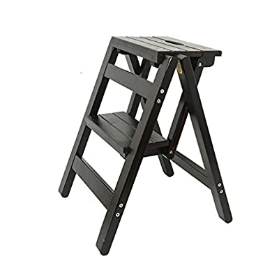 Ladders Home wood step stool folding stairs multifunctional chair stool indoor climbing three steps small ladder step stool (Color : B)