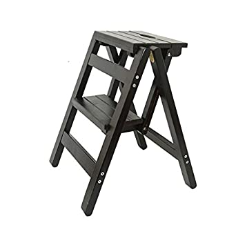 Amazon.com: Taburete de escalera plegable de madera con ...