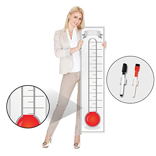 Goal Setting Fundraising Thermometer Chart - 48x11 - Giant Progress Meter Board Corrugated Plastic - Company Sales Milestone Tracking Wall Charts -