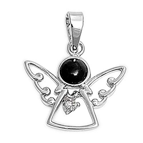 - Angel Pendant Black Simulated Onyx Clear Simulated CZ .925 Sterling Silver Charm Vintage Crafting Pendant Jewelry Making Supplies - DIY for Necklace Bracelet Accessories by CharmingSS