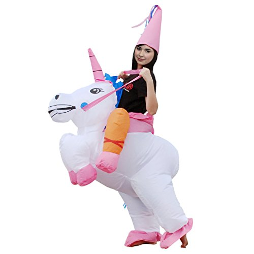 Adult Fun Run Gorilla Costumes (Inflatable Adult and Children Carry Dinosaur T-Rex,Ride Unicorn Party Dress Halloween Animal Suit Fancy Costume (Unicorn for Adult))