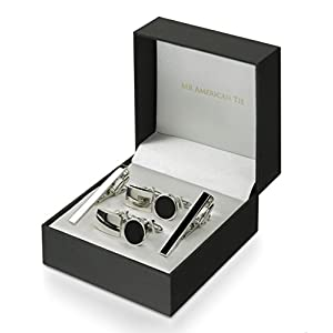 Mr. American Tie 2 Piece Tie Clip and Cufflink Set, Two Sets with Gift Box, Black plus Silver Tone,, Regular Width