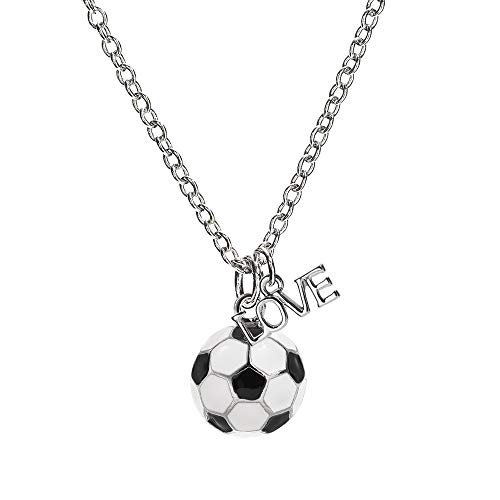 GIMMEDAT Custom Soccer Necklace | Lead & Nickel Free | Initials Charms and Jersey Player Numbers | Player or Fan Gift (Love, ()