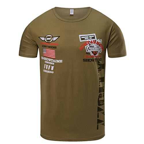 2019 Shirts for Men,Men's Spring Summer New Casual Fashion Printing O-Neck Short Sleeve T-Shirt Tops,Men's Golf Clothing,Khaki,L