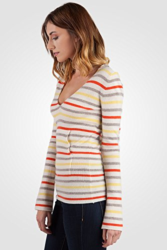 JENNIE LIU Women's 100% Cashmere Long Sleeve V Neck Contemporary Cashmere Hoodie (M, Lemon Stripe) by JENNIE LIU (Image #2)